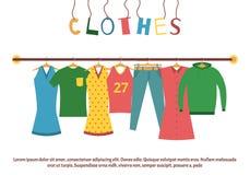 Mannen ` s en vrouwen` s kleren op hangers Kledende opslag Opslag van de boutique de binnenmanier Vlakke stijl vectorillustratie stock illustratie