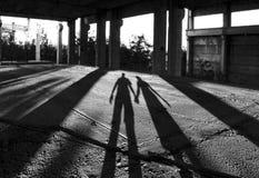mannen shadows kvinnan Arkivbild