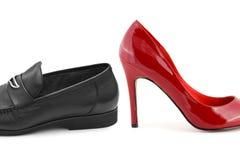 mannen shoes kvinnan Fotografering för Bildbyråer