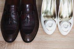 mannen shoes kvinnan Arkivfoton