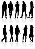 mannen silhouettes kvinnor Arkivfoto