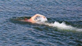 Mannen simmar i sjön Arkivbilder