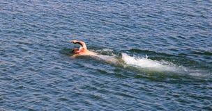 Mannen simmar i sjön Arkivbild