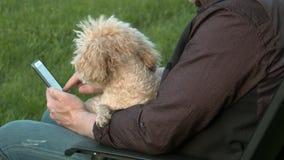 Mannen sitter med telefonen och innehavet en hund stock video