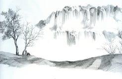 mannen skissar vattenfall Fotografering för Bildbyråer