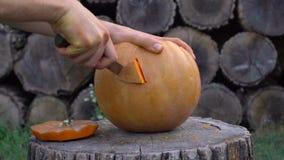 Mannen snider från en pumpastålar-nolla` - lykta i trädgården på en trädstubbe lager videofilmer