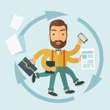 Mannen som är kapabel av Multitasking Fotografering för Bildbyråer