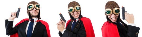 Mannen som bär röda kläder i roligt begrepp Royaltyfri Bild