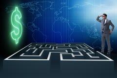Mannen som försöker att nå dollar till och med labyrint Arkivbild