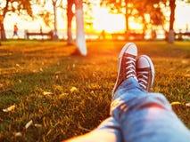 Mannen som kopplar av på ett gräs, är solnedgångljus Arkivbild