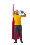 Mannen som levererar vattenflaskan på vit Royaltyfri Foto