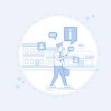 Mannen som pratar gå gatan som smsar, den sociala nätverkskommunikationen fodrar thin stock illustrationer