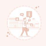 Mannen som pratar gå gatan som smsar, den sociala nätverkskommunikationen fodrar thin vektor illustrationer