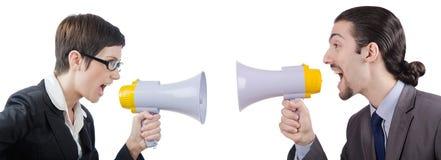 Mannen som ropar och skriker med högtalaren Arkivbilder