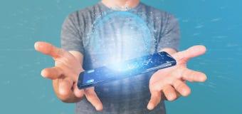 Mannen som rymmer data för tolkning 3d, jordar en kontakt jordklotet på en smartphone Arkivfoto