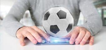 Mannen som rymmer en fotbollboll och anslutning, isolerade renderinen 3d Arkivbild