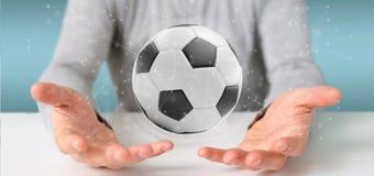 Mannen som rymmer en fotbollboll och anslutning, isolerade renderinen 3d Fotografering för Bildbyråer