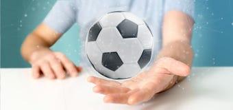 Mannen som rymmer en fotbollboll och anslutning, isolerade renderinen 3d Arkivfoto