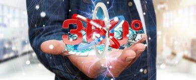 Mannen som rymmer 360 grad 3D, framför symbolen i hans han Arkivfoto