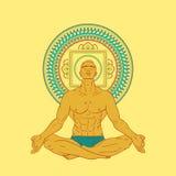 Mannen som sitter i meditation, poserar Arkivbild