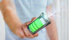 Mannen som trycker på 3D, framför batteriet med blixt med hans finger Arkivfoton