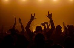 Mannen som upp lyfter händer på, vaggar konsert fotografering för bildbyråer