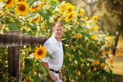 Mannen står vid staketet nära solrosor royaltyfri foto