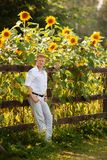Mannen står vid staketet nära solrosor fotografering för bildbyråer