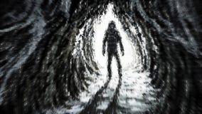 Mannen st?r i str?lar av ljus p? ing?ngen till grottan royaltyfri illustrationer