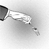 Mannen sträcker ut hans hand för att ta något med en gaffel Fråga för man handman s Nå ut något kräva Royaltyfri Foto
