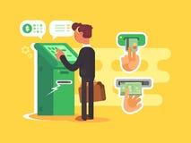 Mannen tar kassa från ATM stock illustrationer