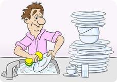 Mannen tvättar sig upp disk royaltyfri illustrationer