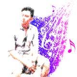 Mannen tycker om musikmelodi för liv Royaltyfria Bilder