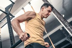 Mannen utför lyftande övning på idrottshallen royaltyfri bild