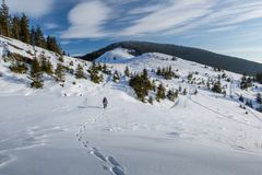 Mannen vandrar i vinterberg royaltyfria bilder