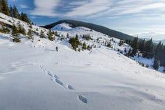 Mannen vandrar i vinterberg arkivbild