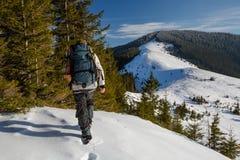 Mannen vandrar i vinterberg royaltyfri foto
