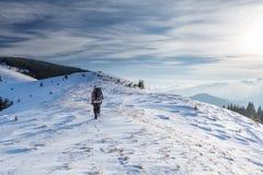 Mannen vandrar i vinterberg royaltyfri fotografi