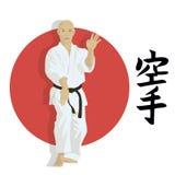 Mannen visar karate royaltyfri illustrationer