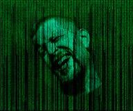 Mannens framsida med ögon stängde sig, fördjupade i en matris av den binära koden royaltyfria bilder