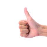 Mannens hand gör tummen upp tecken Royaltyfri Foto