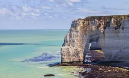 The Manneporte Natural Stone Arch in Normandy Stock Image