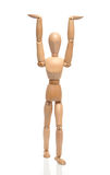 Mannequin. Wooden mannequin showing hands against white royalty free stock photos