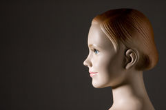 Mannequin. Tailors, plastic figure of girl on dark background stock photo