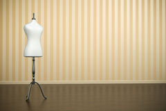 Mannequin. Empty old-fashioned interior with white clothing mannequin. 3D render Royalty Free Stock Images