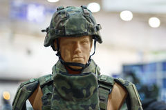 Mannequin in an army helmet Stock Photo