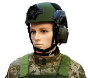 Mannequin in an army helmet Stock Image