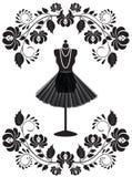 Mannequin avec le collier et la jupe en franc floral illustration stock