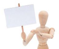 Mannequin avec le signe blanc Photos stock