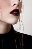 Mannequin avec les lèvres rouge foncé Photo stock